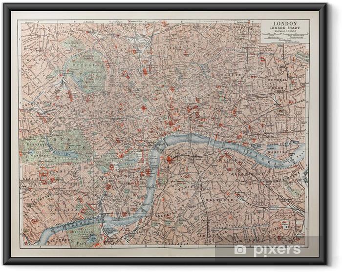 Ingelijste Poster Vintage kaart van Londen - Accessoires en Objecten