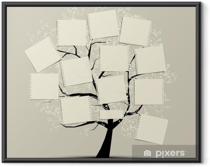 Ingelijste Poster Art boom met papieren voor uw tekst - Tijd