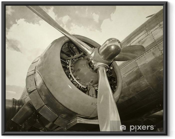 Ingelijste Poster Oude motor en propeller -