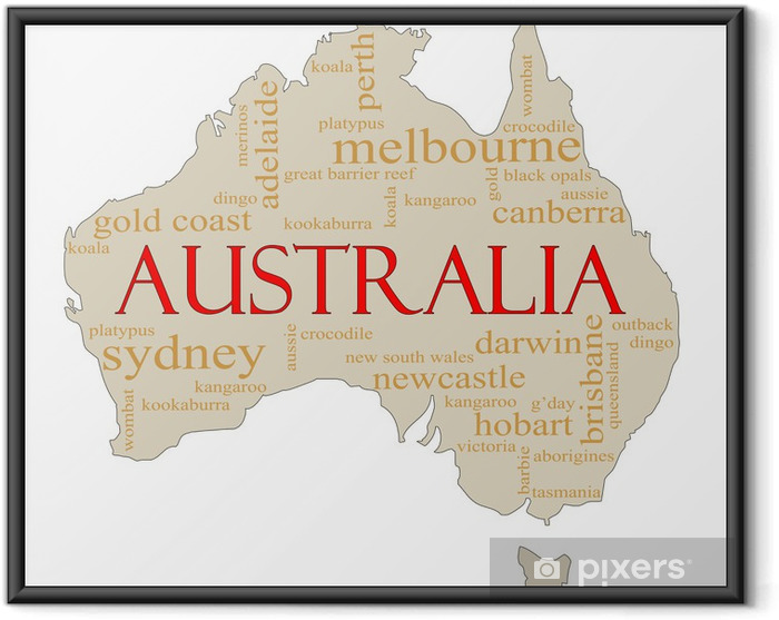 Ingelijste Poster Australië Word Cloud Kaart - Oceanië