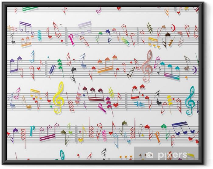 Plakat w ramie Tekstury muzyka notatka dźwiękowa - Święta międzynarodowe