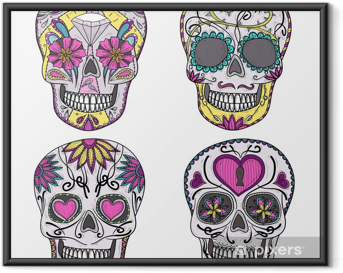 Plakat w ramie Zestaw meksykańskie czaszki. kolorowe czaszki z kwiatem i serce dekoracyj - Naklejki na ścianę