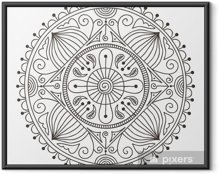 Plakat w ramie Doodle mandala - Naklejki na ścianę