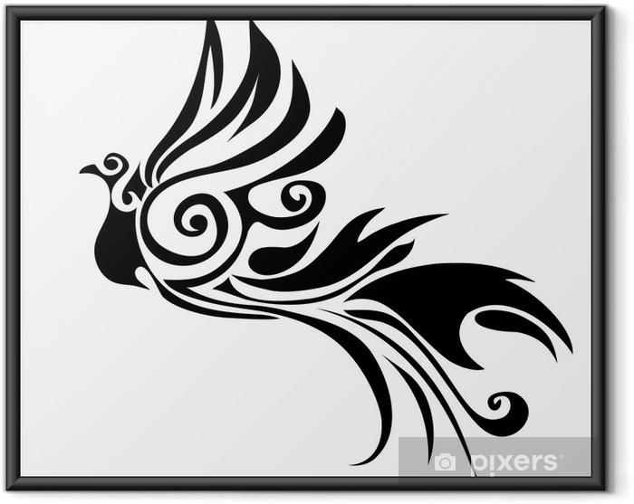 Póster Enmarcado Pájaro tribal - Animales fantásticos