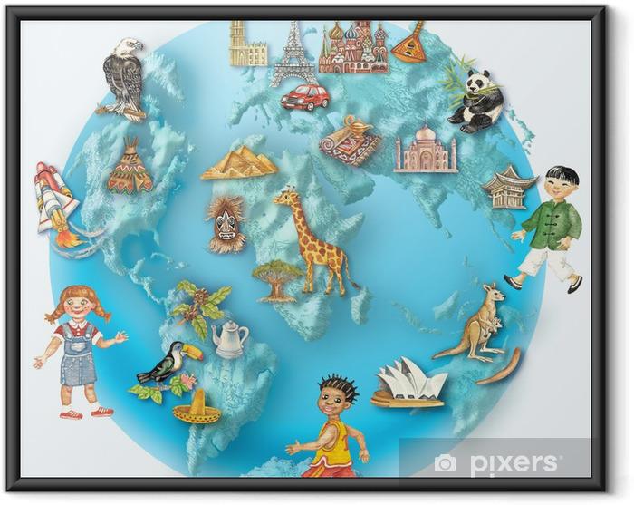 Póster Enmarcado Globe. Visión del mundo con los niños multiculturales e iconos, - Paz