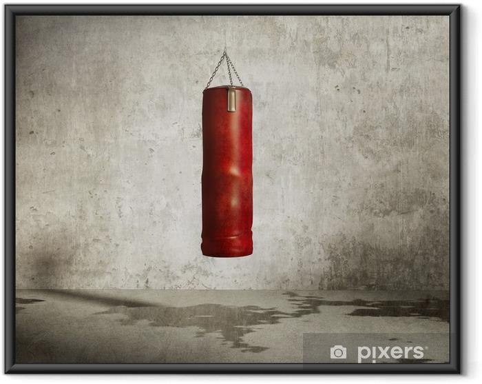 Poster i Ram Grungy kampsporter utbildning rum, röd boxning väska - Teman