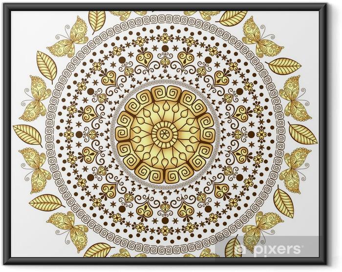 Ingelijste Poster Goud ronde patroon - Muursticker
