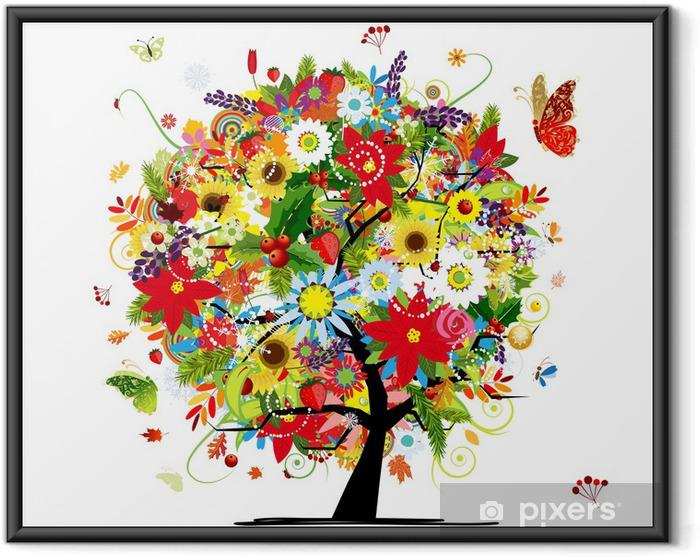 Poster en cadre Quatre saisons concept. Arbre de l'art pour votre conception - Sticker mural