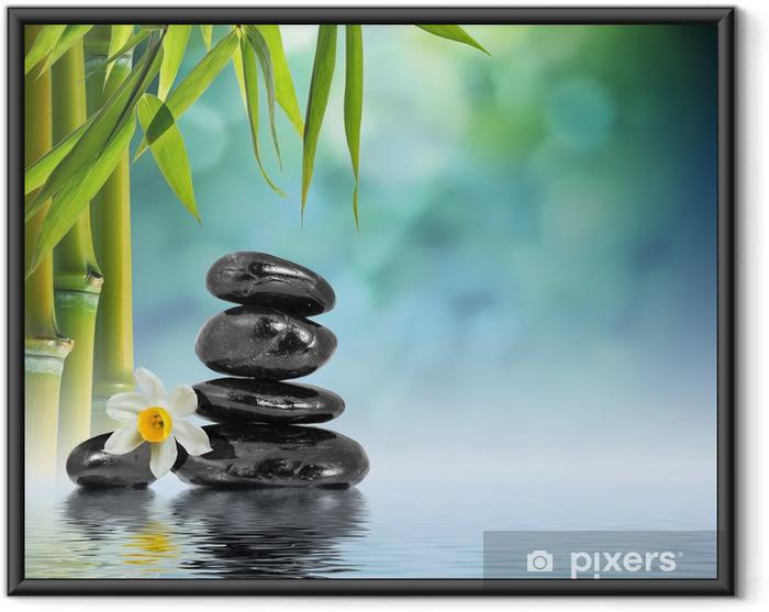 Póster Enmarcado Las piedras y bambú en el agua con la flor del narciso - Temas