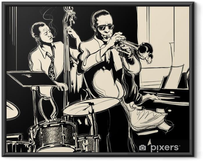Póster Enmarcado Banda de jazz con contrabajo, piano, trompeta y tambor - Jazz