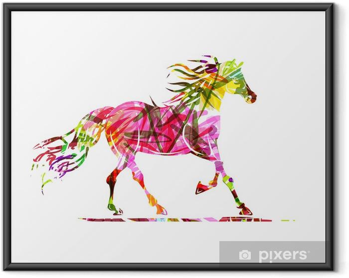 Plakat w ramie Sketch jazda z kwiatowym ornamentem dla swojego projektu. Symbol - Tematy