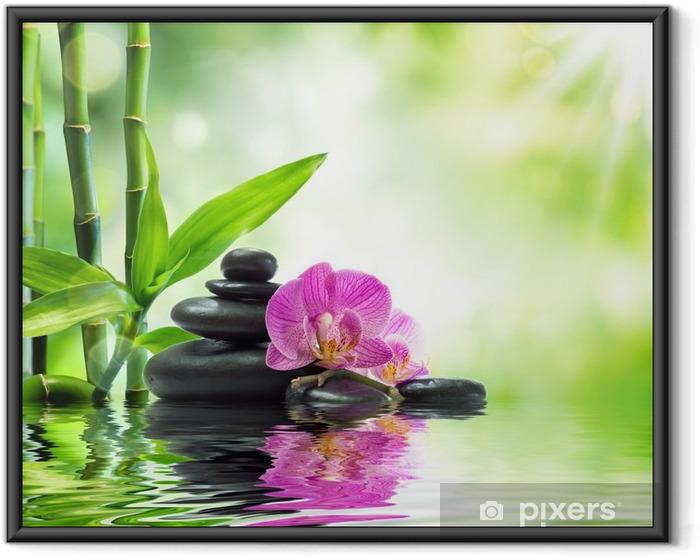 Plakat w ramie Tło spa - storczyki czarne kamienie i bambusa na wodzie - Tematy