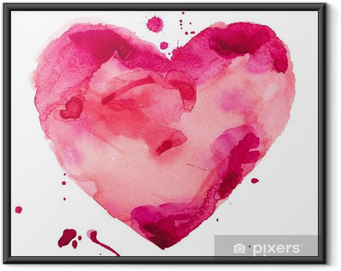 Akvarel hjerte. Koncept - kærlighed, forhold, kunst, maleri Indrammet plakat - Koncept