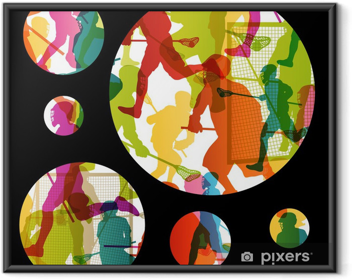 Innrammet plakat Lacrosse spillere aktive menn sport silhuetter abstrakt backgrou - Andre Følelser