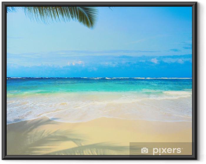 Plakat w ramie Sztuka piękna plaża morze nietknięty tropikalnych - Palmy