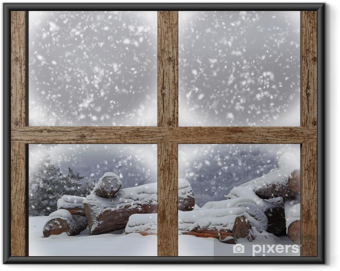 Poster en cadre L'extérieur d'hiver voir avec la pile de bois de chauffage de fenêtre en bois - Thèmes