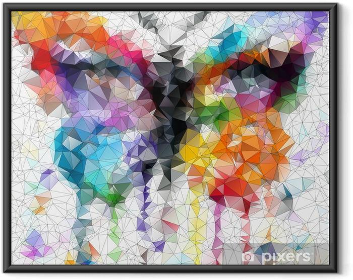 Plakat w ramie Wielokolorowy jasny motyl abstrakcyjne geometryczne tło - Style
