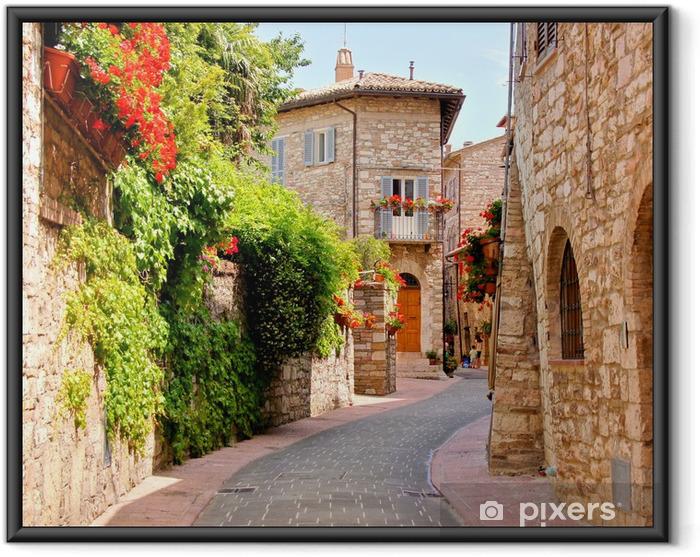 Ingelijste Poster Bloemen omzoomde straat in het centrum van Assisi, Italië - Thema's