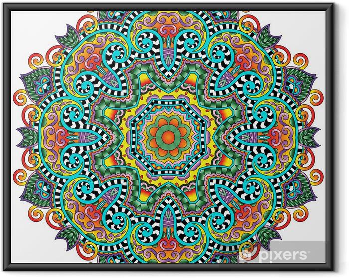 Plakat w ramie Ornament koronki koło, okrągły wzór dekoracyjny geometryczny serwetka - Naklejki na ścianę