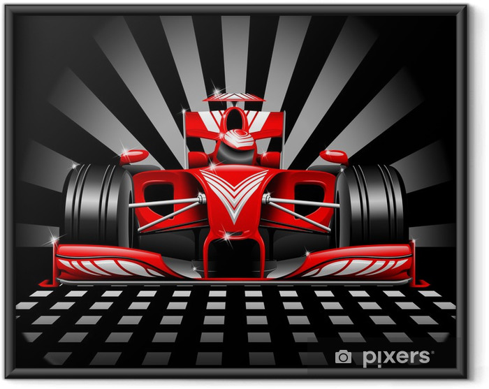 Ingelijste Poster Formule 1 Red Race Car - Thema's