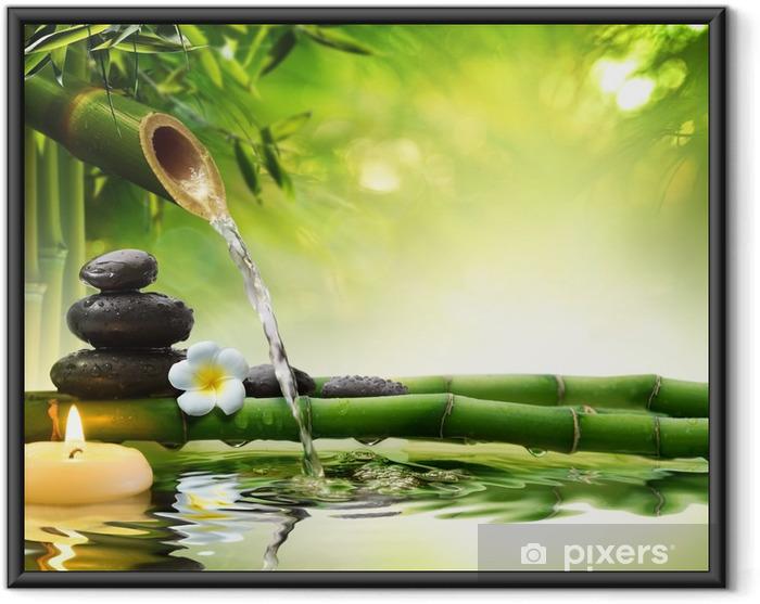 Poster en cadre Spa pierres dans le jardin avec de l'eau d'écoulement - Styles