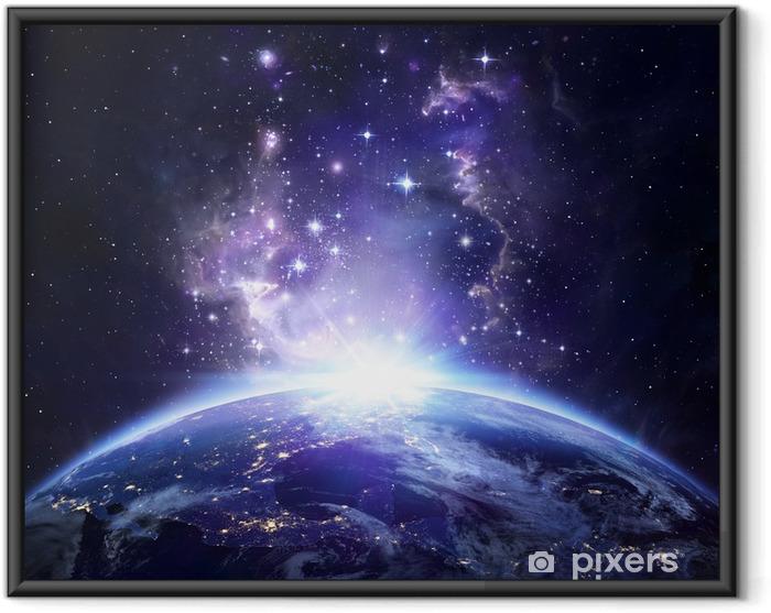 Ingelijste Poster Aarde bekijken vanuit de ruimte 's nachts - USA - Heelal