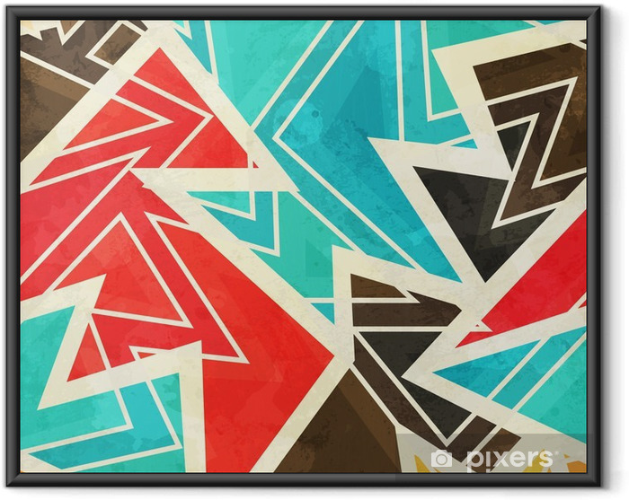 Poster in Cornice Giovani disegno geometrico senza soluzione di continuità con effetto grunge - Risorse Grafiche