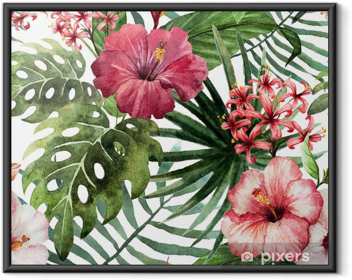 Ingelijste Poster Patroon orchidee hibiscus verlaat aquarel tropen - Bomen