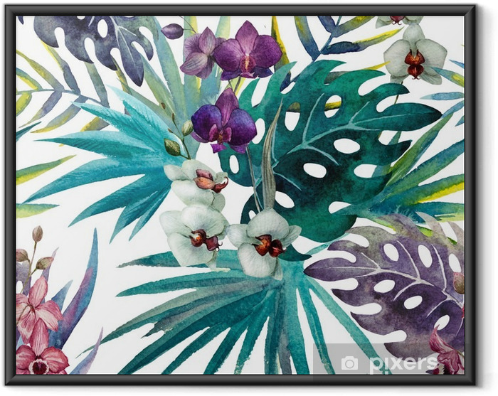 Póster com Moldura pattern orchid hibiscus leaves watercolor tropics - iStaging