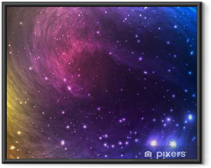 Ingelijste Poster Kleurrijke Space Galaxy achtergrond met licht, Shining sterren en nevel. Vector Illustratie voor artwork, flyers partij, posters, banners. - Grafische Bronnen
