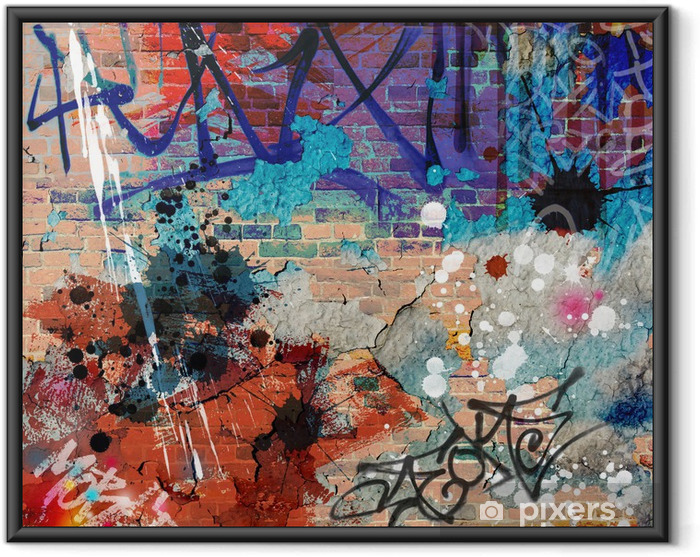 Plakat w ramie Bałagan? ciany graffiti - Tematy