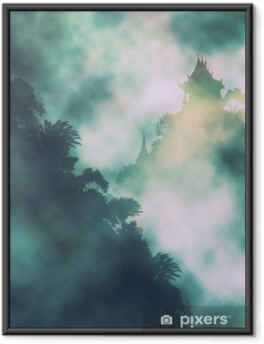 Çerçeveli Poster Mystic dağ tapınak - Manzaralar