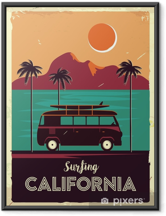Poster i Ram Grunge retro metallskylt med palmer och van. surfa i Kalifornien. vintage annonsering affisch. gammaldags design - Landskap