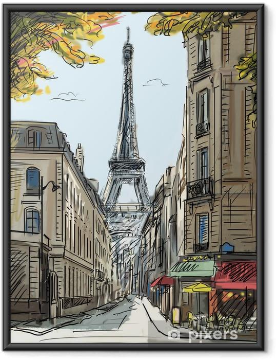 Plakat w ramie Ulica w Paryżu - ilustracja - Tematy