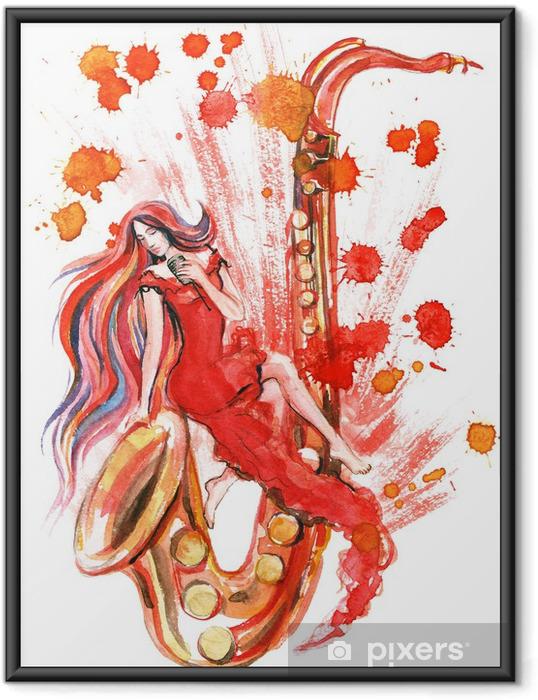 Póster Enmarcado Mujer saxo - Música