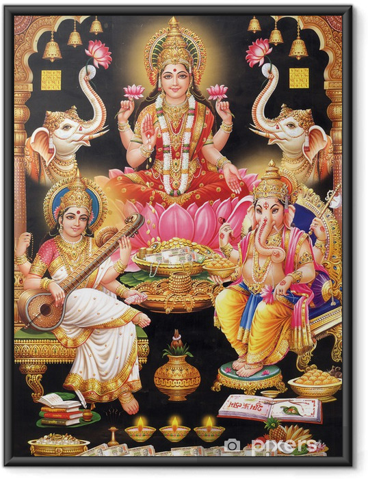 Plakat w ramie Indyjska bogini Lakshmi z maa MAA Saraswati i Ganesh ji - Budynki użyteczności publicznej