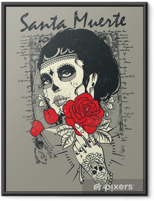 Ingelijste Poster Santa muerte Rose - Thema's