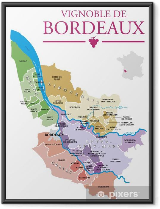 Ingelijste Poster Wijngaarden van Bordeaux - Alcohol