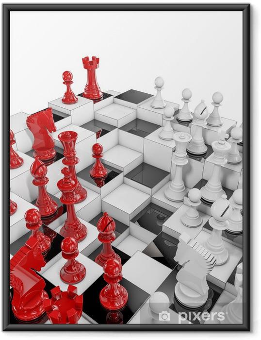 Ingelijste Poster Multilayer schaken - Zakelijke Concepten