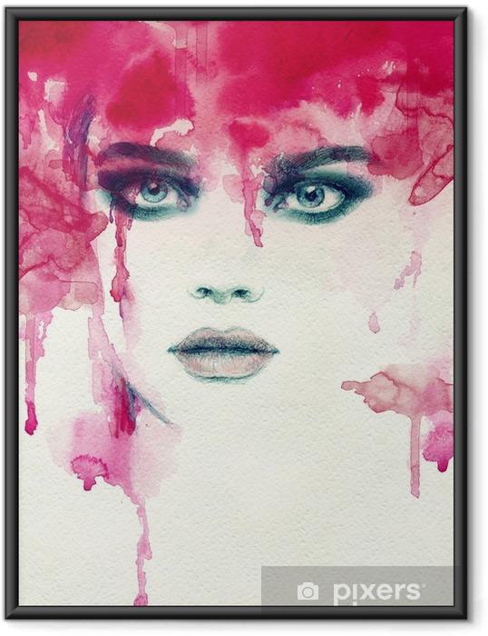 Poster i Ram Vacker kvinna. akvarell illustration - Människor