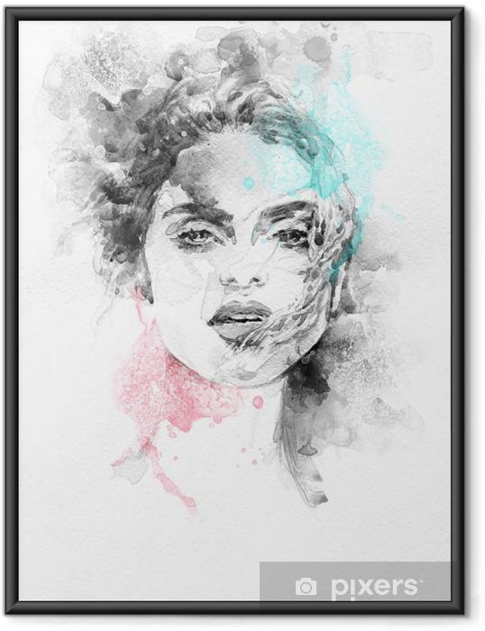 Ingelijste Poster Mooie vrouw. Hand geschilderde mode-illustratie - Thema's
