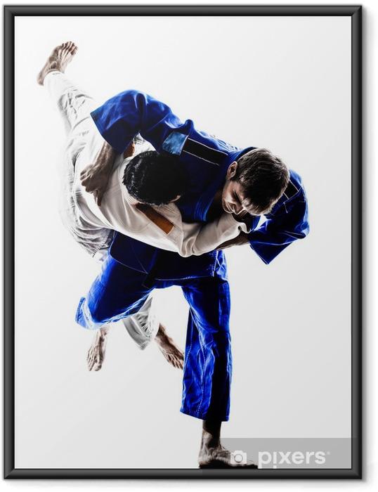 Poster en cadre Judokas combattants défense silhouettes hommes - Sports individuels