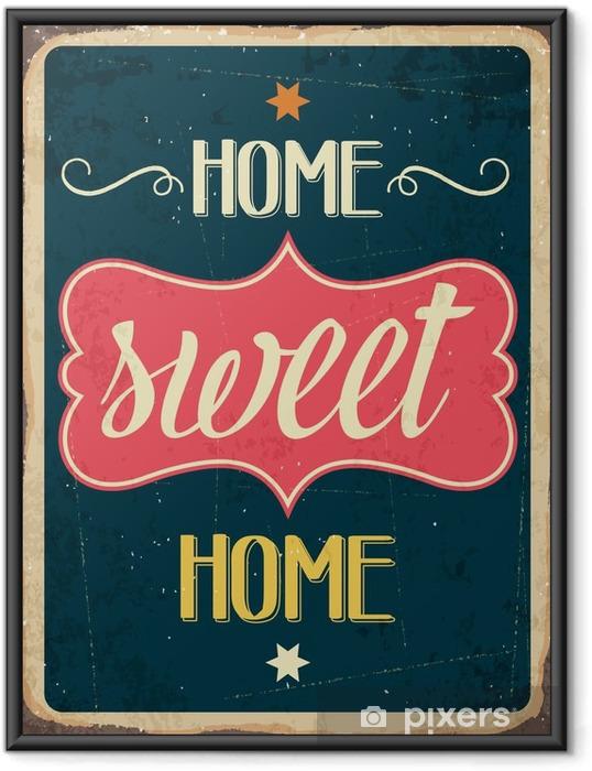 "Poster i Ram Retro metall skylt ""Home sweet home"" - Grafiska resurser"