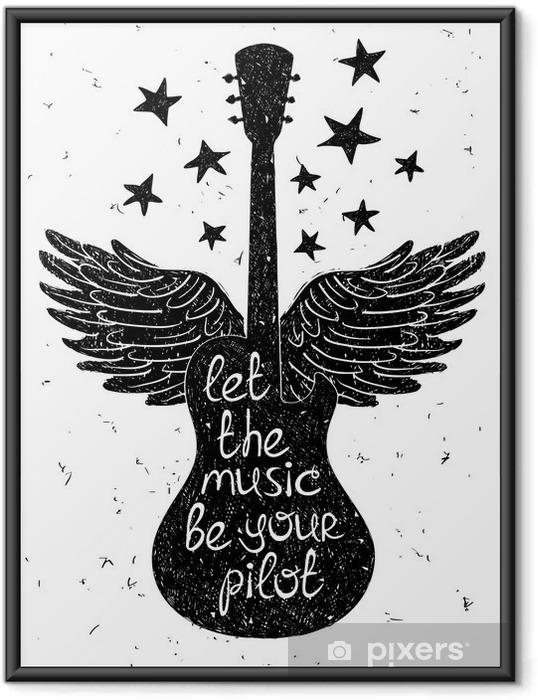 Poster en cadre Hand drawn illustration musicale avec des silhouettes de guitare. - Passe-temps et loisirs