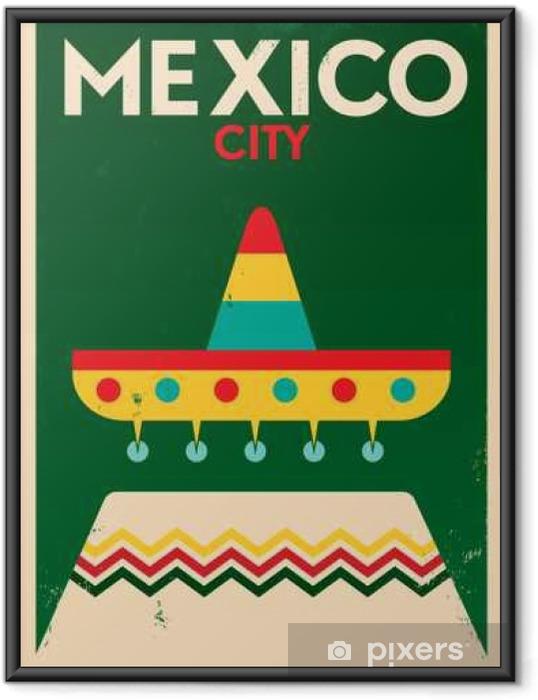 Ingelijste Poster Mexico vintage posterontwerp - Gebouwen en Architectuur