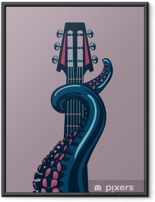 Ingelijste Poster Octopus tentakel houdt een gitaar riff. - Hobby's en Vrije tijd