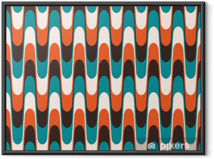 Ingelijste Poster Naadloze vintage golvende patroon in halverwege de eeuw stijl. - Grafische Bronnen