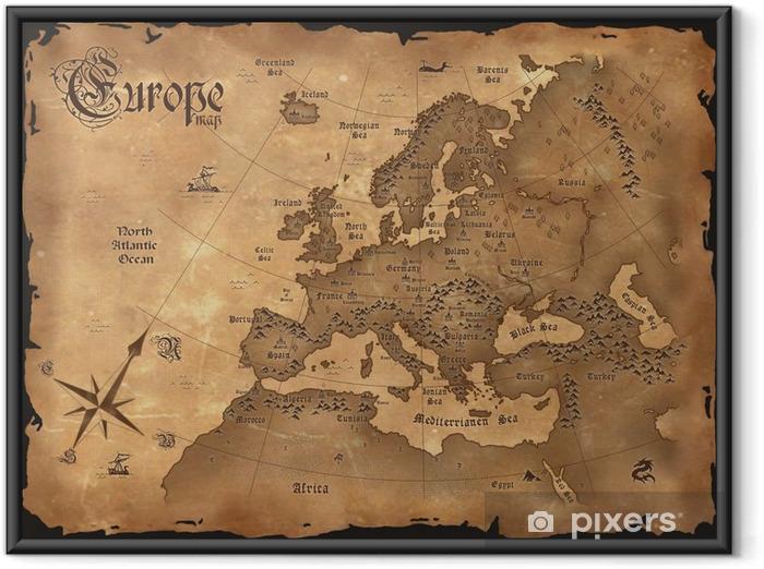Ingelijste Poster Vintage kaart van Europa horizontale - Thema's