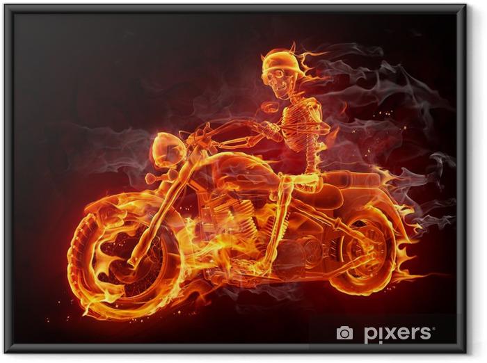 Plakat w ramie Rowerzysta ognia - Tekstury