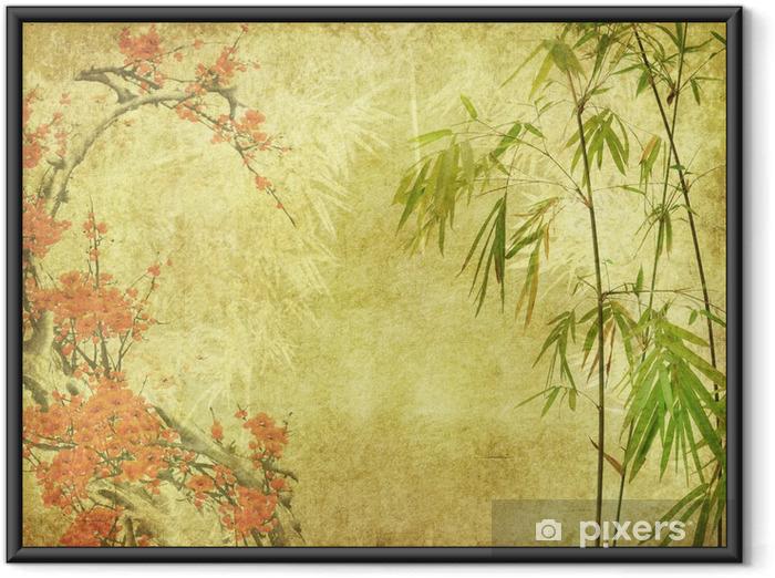 Poster en cadre Fleur de bambou et prune sur la texture de vieux papier antique - Styles